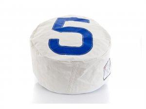 "22.05"" X 22.05"" X 11.81"" White Recycled Sailcloth Pouf Solo Dacron Blue 5"