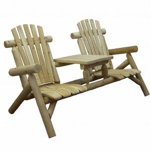 """66"""" X 30"""" X 39""""  Natural Wood Tete-A-Tete Chair"""