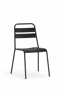 Set of 4 Gray Stacking Aluminum Armless Chairs