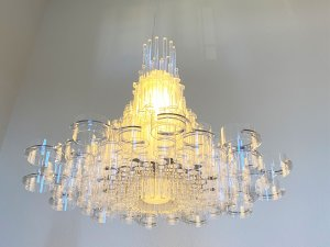"39"" X 39"" X 70"" White Acrylic Pendant Lamp"