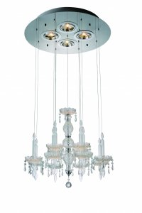"26"" X 26"" X 43"" Clear Crystal Glass Pendant Lamp"