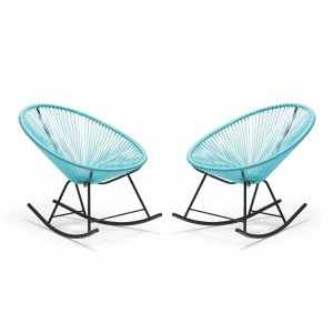 Set of 2 Aqua Blue Round Bungee Style Rocking Chairs