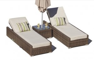 """78"""" X 29"""" X 28"""" Brown 3-Piece Outdoor Armless Chaise Lounge Set with  Cushions"""