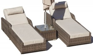 "78"" X 29"" X 35"" Brown 3Piece Outdoor Arm Chaise Lounge Set with  Cushions"