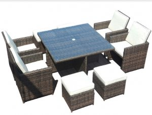 """101"""" X 49"""" X 45"""" Brown 9Piece Square Outdoor Dining Set with Beige Cushions"""