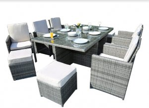 """129"""" X 76"""" X 46"""" Gray 11Piece Outdoor Dining Set with Cushions"""