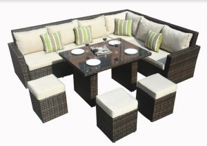 "180.96"" X 33.54"" X 34.71"" Brown 8Piece Outdoor Sectional Set with Cushions"