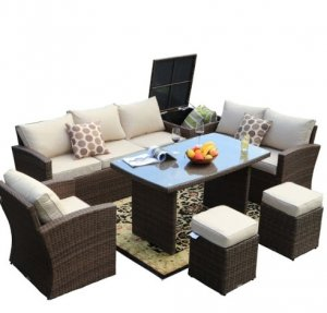 "179.85"" X 31.89"" 32.68"" Brown 7Piece Steel Outdoor Sectional Sofa Set with Ottomans and Storage Box"
