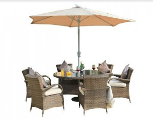 "211"" X 55"" X 32"" Brown 7Piece Outdoor Dining Set with Washed Cushion"
