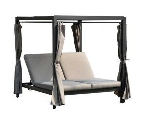 "161.85"" X 71.37"" X 8.58"" Gray Outdoor Steel Metal Adjustable Day Bed with Canopy and Taupe Cushions"