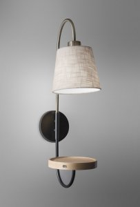 Antique Brass and Black Metal Wall Lamp with USB Charging Station Wood Shelf