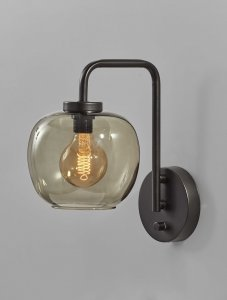 Smoked Glass Globe Shade with Vintage Edison Bulb and Matte Black Metal Wall Lamp