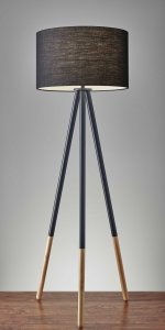 Tripod Floor Lamp Urban Mixed Metal and Wood