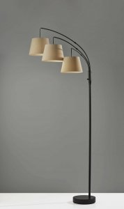 Three Light Adjustable Arm Dark Bronze Floor Lamp