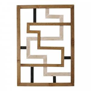 Modern Maze Natural White and Black Wood Panel Wall Art