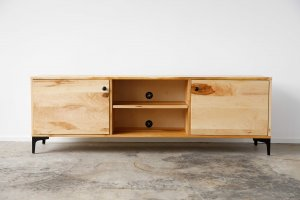 Natural Maple And Black Steel TV Stand or Media Center