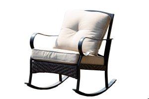 "25"" X 33"" X 34"" Black Steel Patio Rocking Chair with Beige Cushions"