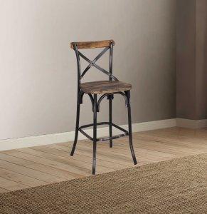 Antique Black Reclaimed Wooden Bar Chair