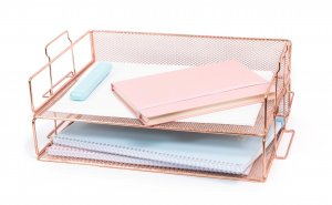 Stylish Rose Gold Stackable 2 Tier Paper Tray Desk Organizer for Women