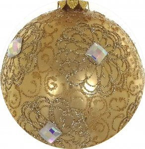 Mouth Blown Polish Glass Gold & Clear Christmas Ornament