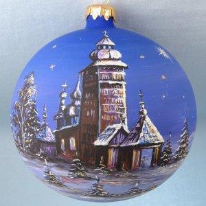 Mouth Blown Polish Glass Artistic Blue Sky Christmas Ornament