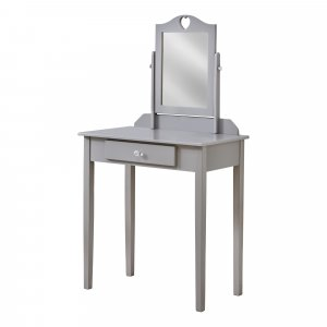 Grey Vanity Mirror and Storage Drawer