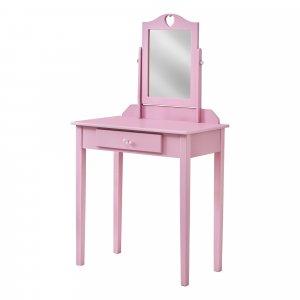 Pink Vanity Mirror and Storage Drawer