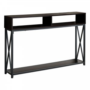 """48"""" Rectangular EspressowithBlack Metal Hall Console with 2 Shelves Accent Table"""