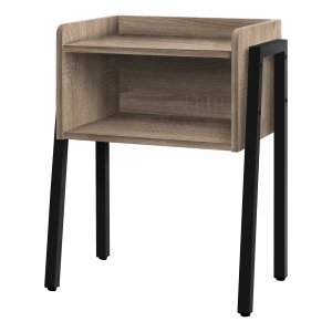 """23"""" Rectangular Dark Taupe Accent Table with Black Metal Legs"""