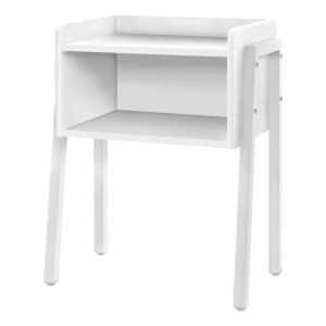"""23"""" Rectangular White Accent Table with White Metal Legs"""
