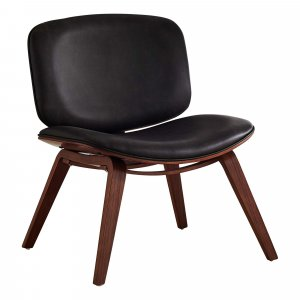 Dark Brown Leather Look Fabric Accent Chair