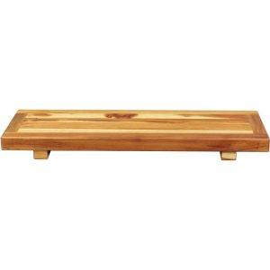 Compact Rectangular Driftwood Finish Teak Bathtub Tray or Seat