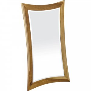 Modern Curves Solid Teak Wall Mirror in Natural Finish