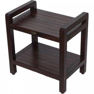 Rectangular Teak Shower Bench with Handles in Brown Finish