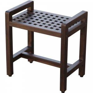 Rectangular Teak Lattice Pattern Shower or Outdoor Bench in Brown Finish
