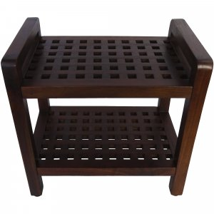 Teak Lattice Pattern Shower Stool with Shelf and Handles in Brown Finish