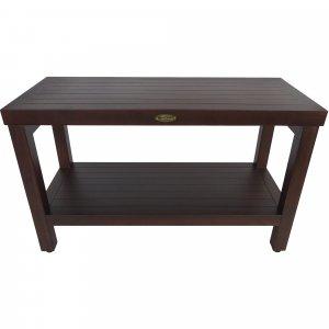 Rectangular Teak Shower Stool or Bench with Shelf in Brown Finish