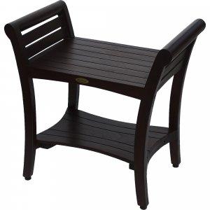 Contemporary Teak Shower bench with Handles in Dark Brown