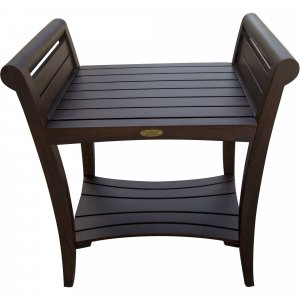 Rectangular Teak Shower Bench with Shelf and Handles in Brown Finish