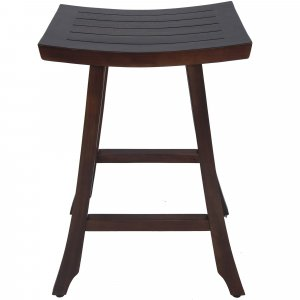 Compact Teak Counter Stool in Brown Finish