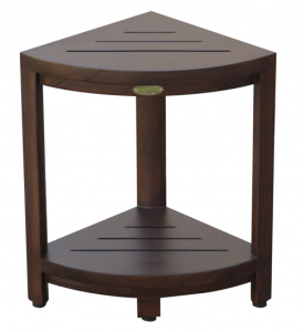 Compact Triangular Teak Shower Outdoor Bench with Shelf in Brown Finish