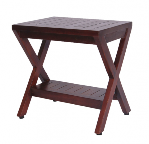 Compact X Shape Teak Shower Outdoor Bench with Shelf in Brown Finish