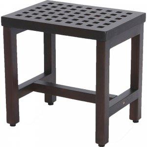 Compact Rectangular Teak Lattice Pattern Shower or Outdoor Bench in Brown Finish