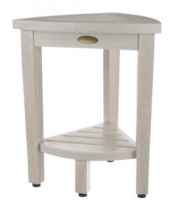 Compact Teak Corner Shower Stool with Shelf in Whitewash Finish