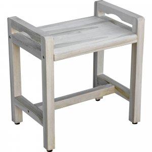 Rectangular Teak Shower Bench with Handles in White Finish