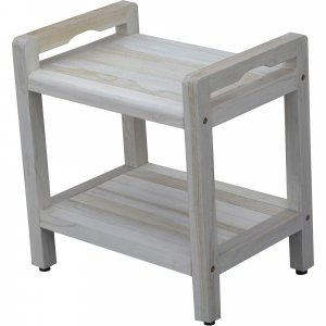Compact Rectangular Teak Shower Outdoor Bench with Liftaide Arms in Driftwood Finish