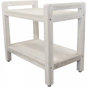 Rectangular Teak Shower Bench with Shelf and Handles in White Finish