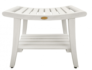 Compact Curviliniear Teak Shower  Outdoor Bench with Shelf in Driftwood Finish