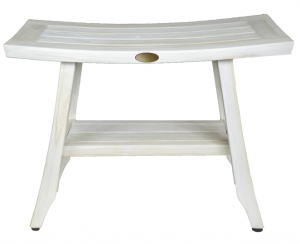 Contemporary Teak Shower Stool or Outdoor Bench in Whitewash Finish