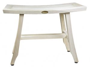 Contemporary Teak Shower Stool or Bench in Whitewash Finish